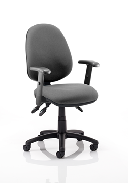 Picture of Office Chair Company Luna III Lever Task Operator Chair Charcoal With Height Adjustable Arms