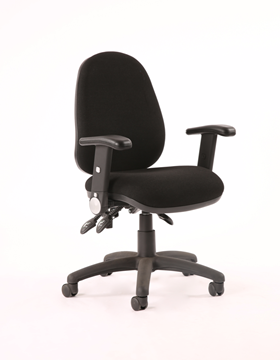 Picture of Office Chair Company Luna III Lever Task Operator Chair Black With Height Adjustable And Folding Arms