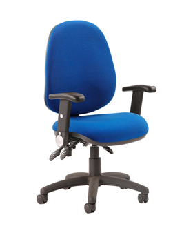 Picture of Office Chair Company Luna III Lever Task Operator Chair Blue With Height Adjustable And Folding Arms
