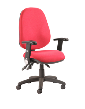 Picture of Office Chair Company Luna III Lever Task Operator Chair Burgundy With Height Adjustable And Folding Arms