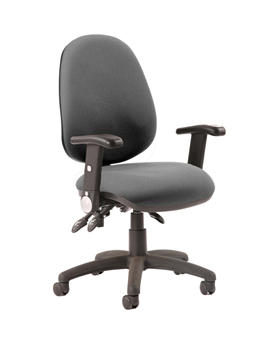Picture of Office Chair Company Luna III Lever Task Operator Chair Charcoal With Height Adjustable And Folding Arms