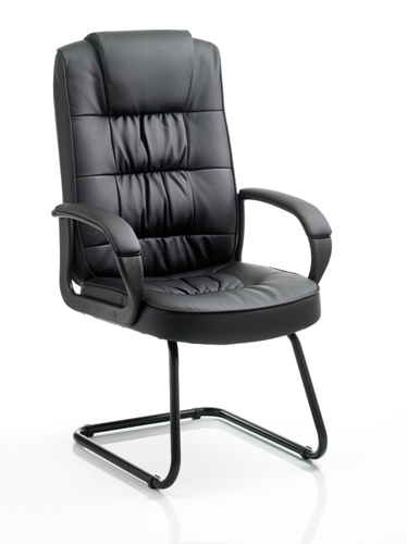 Picture of Office Chair Company Moore Visitor Cantilever Black Leather With Arms
