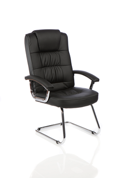 Picture of Office Chair Company Moore Deluxe Visitor Cantilever Chair Black leather With Arms