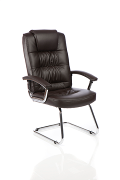 Picture of Office Chair Company Moore Deluxe Visitor Cantilever Chair Brown Leather With Arms