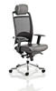 Picture of Office Chair Company Pioneer Task Operator Chair Black Leather High Back  With Arms With Headrest