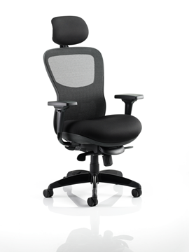 Picture of Office Chair Company Stealth Ergo Posture Chair Black Airmesh Seat And Mesh Back With Arms With Headrest