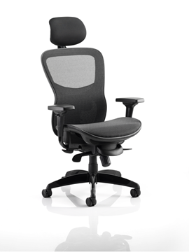 Picture of Office Chair Company Stealth Ergo Posture Black Mesh Seat And Back Chair With Arms With Headrest