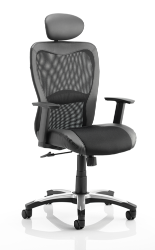 Picture of Office Chair Company Victor II Executive Chair Black Leather Black Mesh With Arms With Headrest