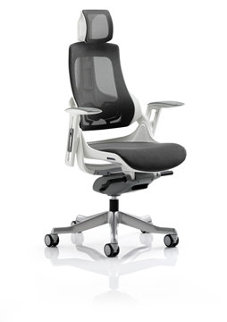 Picture of Office Chair Company Zure Executive Chair Charcoal Mesh With Arms With Headrest
