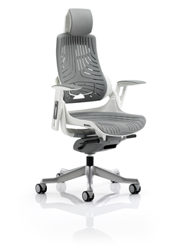 Picture of Office Chair Company Zure Executive Chair Elastomer Gel Grey With Arms With Headrest