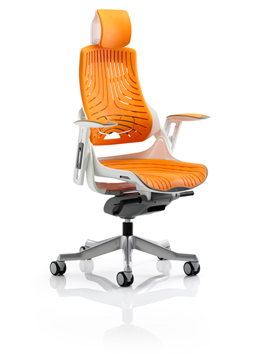 Picture of Office Chair Company Zure Executive Chair Elastomer Gel Orange With Arms With Headrest