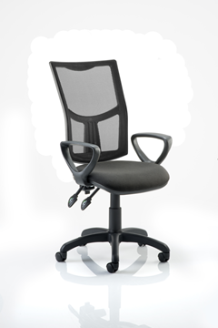 Picture of Office Chair Company Eclipse II Lever Task Operator Chair Mesh Back With Black Seat With loop Arms