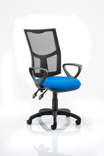Picture of Office Chair Company Eclipse II Lever Task Operator Chair Mesh Back With Blue Seat With loop Arms