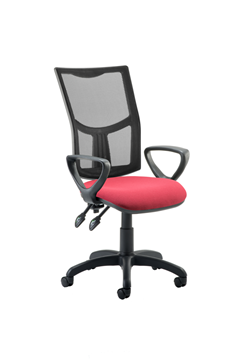 Picture of Office Chair Company Eclipse II Lever Task Operator Chair Mesh Back With Wine Seat With loop Arms