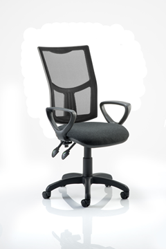 Picture of Office Chair Company Eclipse II Lever Task Operator Chair Mesh Back With Charcoal Seat With loop Arms