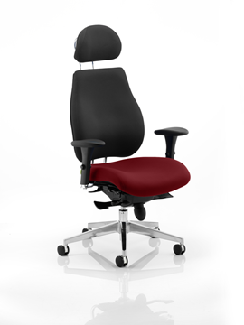 Picture of Office Chair Company Chiro Plus Ultimate With Headrest Bespoke Colour Seat Chilli