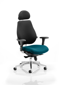 Picture of Office Chair Company Chiro Plus Ultimate With Headrest Bespoke Colour Seat Kingfisher