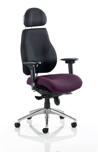 Picture of Office Chair Company Chiro Plus Ultimate With Headrest Bespoke Colour Seat Purple