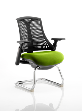 Picture of Office Chair Company Flex Task Operator Chair Black Frame Black Back Cantilever Bespoke Colour Seat Swizzle