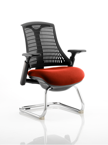Picture of Office Chair Company Flex Task Operator Chair Black Frame Black Back Cantilever Bespoke Colour Seat Pimento