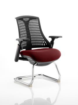 Picture of Office Chair Company Flex Black Frame  Black Back Cantilever Bespoke Colour Seat Chilli