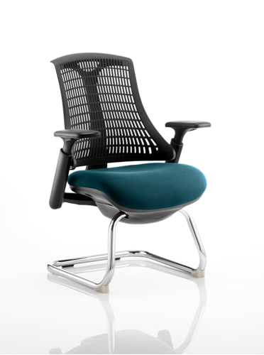 Picture of Office Chair Company Flex Task Operator Chair Black Frame  Black Back Cantilever Bespoke Colour Seat Kingfisher