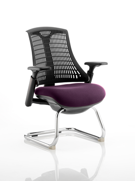 Picture of Office Chair Company Flex Task Operator Chair Black Frame Black Back Cantilever Bespoke Colour Seat Purple
