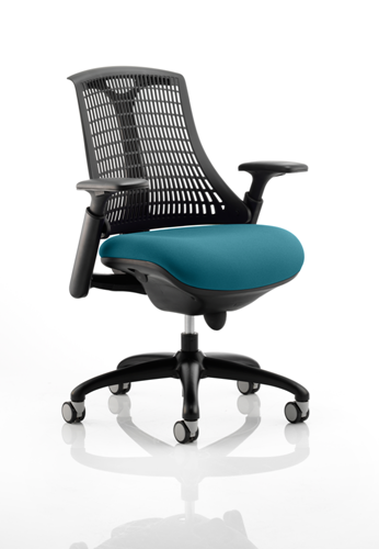 Picture of Office Chair Company Flex Task Operator Chair Black Frame Black Back Bespoke Colour Seat Kingfisher