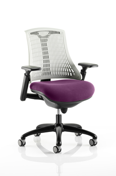 Picture of Office Chair Company Flex Task Operator Chair Black Frame White Back Bespoke Colour Seat Purple