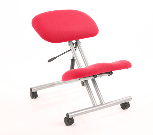 Picture of Office Chair Company Kneeling Stool Silver Frame Bespoke Colour Cherry