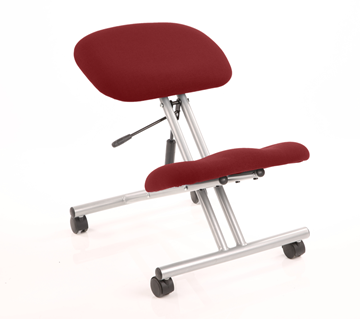 Picture of Office Chair Company Kneeling Stool Silver Frame Bespoke Colour Chilli
