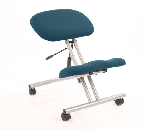 Picture of Office Chair Company Kneeling Stool Silver Frame Bespoke Colour Kingfisher