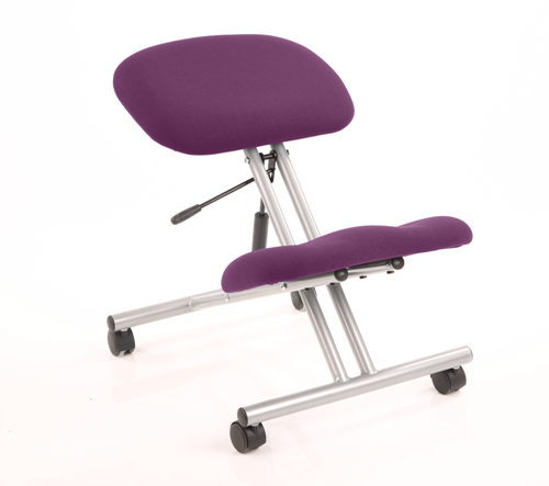 Picture of Office Chair Company Kneeling Stool Silver Frame Bespoke Colour Purple