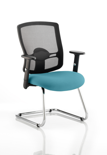 Picture of Office Chair Company Portland Cantilever Bespoke Colour Seat Kingfisher