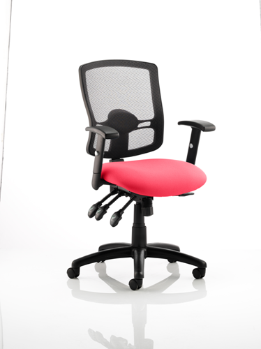 Picture of Office Chair Company Portland III Black Mesh Back Bespoke Colour Seat Cherry