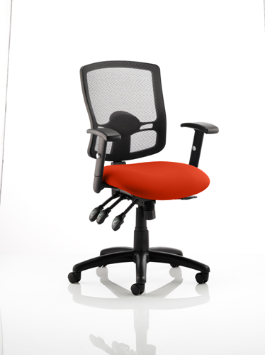 Picture of Office Chair Company Portland III Black Mesh Back Bespoke Colour Seat Pimento