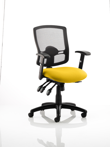 Picture of Office Chair Company Portland III Black Mesh Back Bespoke Colour Seat Sunset