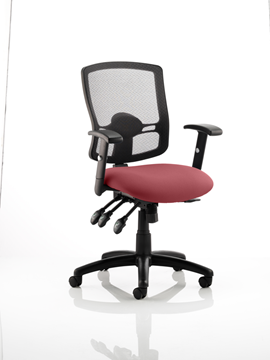Picture of Office Chair Company Portland III Black Mesh Back Bespoke Colour Seat Chilli