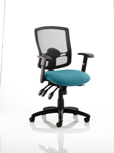 Picture of Office Chair Company Portland III Black Mesh Back Bespoke Colour Seat Kingfisher