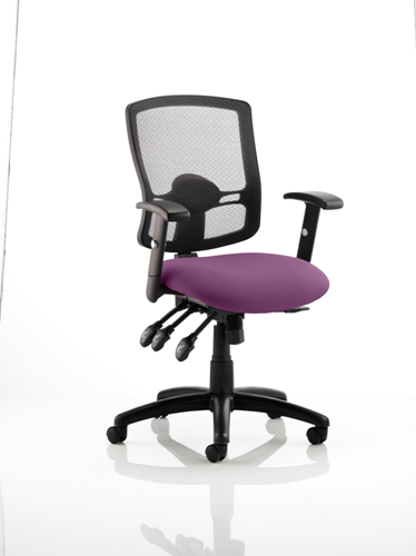 Picture of Office Chair Company Portland III Black Mesh Back Bespoke Colour Seat Purple