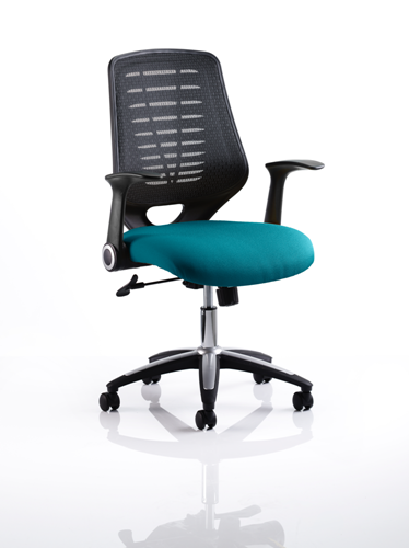 Picture of Office Chair Company Relay Bespoke Colour Black Back Kingfisher