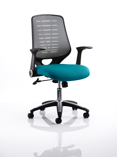 Picture of Office Chair Company Relay Bespoke Colour Silver Back Kingfisher
