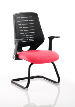 Picture of Office Chair Company Relay Cantilever Bespoke Colour Black Back Cherry