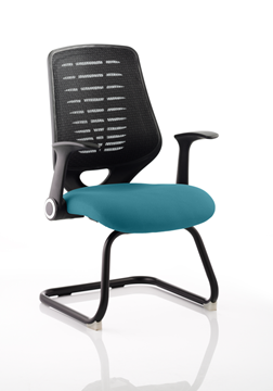 Picture of Office Chair Company Relay Cantilever Bespoke Colour Black Back Kingfisher