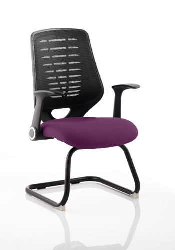 Picture of Office Chair Company Relay Cantilever Bespoke Colour Black Back Purple