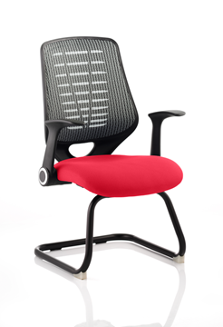 Picture of Office Chair Company Relay Cantilever Bespoke Colour Silver Back Cherry