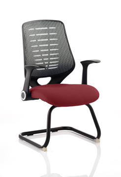 Picture of Office Chair Company Relay Cantilever Bespoke Colour Silver Back Chilli
