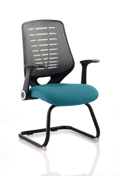 Picture of Office Chair Company Relay Cantilever Bespoke Colour Silver Back Kingfisher