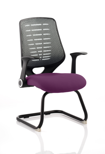 Picture of Office Chair Company Relay Cantilever Bespoke Colour Silver Back Purple
