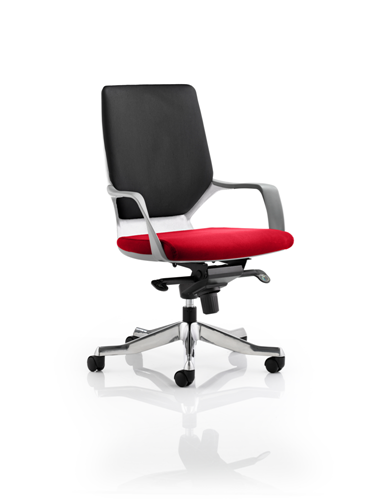 Picture of Office Chair Company Xenon White Medium Back Bespoke Colour Seat Cherry